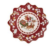 """Villeroy & Boch Toy's Fantasy Piatto Grande """"Babbo Natale sul Tetto"""", Porcellana Premium per Dolci E Biscotti, Rosso/Multicolore, Pasticceria (L)"""
