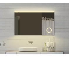Lux Aqua Specchio da Bagno con Specchio cosmetico e LED Luce in Caldo & Freddo Bianco-102x 70cm