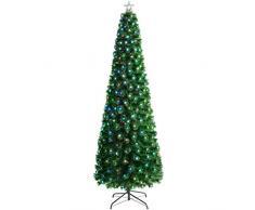 WeRChristmas - Albero di Natale in Fibra Ottica con Stelle LED, Verde, 5 ft/1.5m