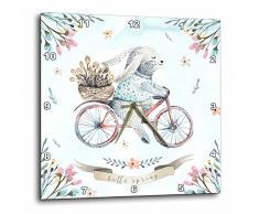 3dRose Cute Floreale Acquerello Pasqua Coniglietto Illustration-Hello Spring-Wall Orologio, 15Â x 38,1Â cm (DPP 275581Â _ 3Â Pezzi, variabile