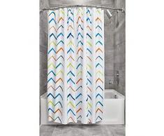 iDesign Tende per Doccia Design, Tenda per Vasca da Bagno x 183,0 cm in Poliestere, Bianco/Multicolore