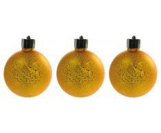 Naeve Leuchten 5083258 - Set di 2 lampade sferiche a LED, con telecomando, batterie incluse, altezza 10 cm, colore: Oro satinato