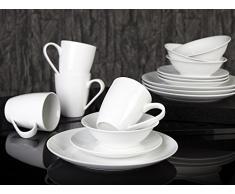 Creative Tops-Set da giardino Bistro, Set servizio da tavola, in porcellana, colore: bianco, 16 pezzi