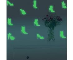 Fillplus Adesivi da Parete Alta-Scarpa Glowing Sticker murale Decalcomanie Arte Soggiorno Scuola Materna Ristorante Hotel Cafe Ufficio Decorazioni per la casa Decorazione, Multicolore