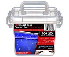 WeRChristmas 2.2 m gomma Luci String cavo 100 collegabile Natale Icicle LED con 2 Pin Maschi e Connettore femmina, Blu