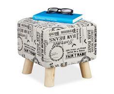 Relaxdays Sgabello Imbottito con Gambe in Legno, Rettangolare, per appoggiare i Piedi, seduti, Fino a 300 kg, Altezza 30 x 30 x 30 cm, Colore Naturale, 1 Pezzo