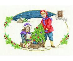 DMC Kit per Punto Croce Vintage l Albero di Natale, 100% Cotone, Multicolore