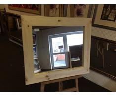 Modec Mirrors Specchi da Parete e soprammobile in Pino Massiccio, 93 mm, Disponibile in Molte Misure (79 x 64 cm), Vetro a Specchio smussato