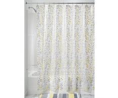InterDesign Botanical EVA/PEVA Tende doccia tessuto idrorepellente, Tenda da vasca da bagno in EVA di misure 183,0 cm x 183,0 cm, grigio/giallo