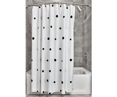 iDesign Tende per Doccia Design a Pois, Tenda per Vasca da Bagno x 183,0 cm in Poliestere, Nero/Bianco