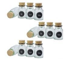 Viva per la casa # 36716 # 12 Rotonda Contenitori da 150 ML Tappo di Sughero Occhiali Porta spezie con 24 Spezie Etichette Portaspezie, Vetro, Trasparente, 6.1 x 6.1 x 11 cm