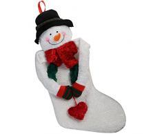 WeRChristmas 42 cm calza con sciarpa decorazione di Natale, oro