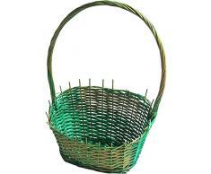 Kesper 17944präsent cestino in vimini in verde/oro, vimini, 50x 30x 24cm