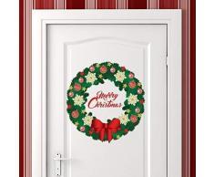 Wallflexi Adesivi da Parete Buon Natale Ghirlanda Decorazioni di Natale Adesivi murali Soggiorno Bambini Scuola Materna Ristorante Hotel casa, Multicolore