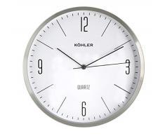 H&H 8367021 Orologio da Parete, Tondo, 30 cm, Alluminio/Argento, Bianco, 30x30x5 cm