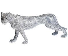 KARE 33772 - Statuetta decorativa, soggetto: Leopardo argentato, 29 cm