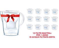 Brita Marella Caraffa Filtrante per Acqua, 12 Filtri Maxtra+ Inclusi, Plastica San, Plastica, Bianco, 2,4 Litri