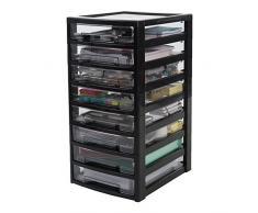 IRIS Ohyama, Scaffale per Ufficio 8 cassetti - Intelligente Chiaro Chest - CSAS-800, di plastica, Nero/Trasparente, 40 L, 32 x 39 x 63