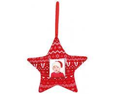 ZEP Stella di Natale, Tessuto, Rosso/Bianco, 16Â x 21Â x 2Â cm