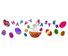 Outlook Design Italia Gel Gems Banner Large Decorazione Autoadesiva da Pasqua, Multicolore, 49x23x1.5 cm