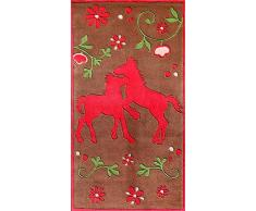 BC Rugs, Tappeto per bambini, motivo: Cavalli, Marrone (Braun), 80 x 150 cm