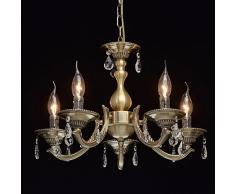 Classico Elegante lampadario candele messingfarbiges metallo chiaro Pendente di cristallo 5Â luci soggiorno sala da pranzo sala esclud. 5Â * 60Â W E14
