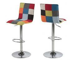 AC Design Furniture - Sgabello da Bar Anne, in Tessuto, 40 x 47 x 113 cm, Multicolore
