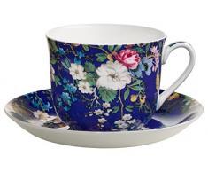 Maxwell & Williams WK09300 Kilburn Tazza da Colazione con piattino, Floral Muse, Confezione Regalo, Porcellana, Blu/Bunt, 2 unità