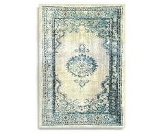 Barefoot - Tappeto persiano, stile vintage moderno, tappeto in viscosa/seta artificiale, 140 x 200 cm, Arancio zafferano