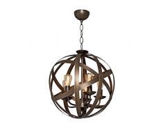 Homemania Lampada A Sospensione Retro Colore Marrone in Metallo-Per Salotto, Soggiorno, Cucina, Camera, Ufficio E14, 200 W, Taglia unica