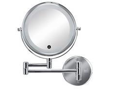 Kleine Wolke - Specchio cosmetico Lumi Mirror argento, in metallo cromato e vetro, dimensioni: circa 29 x 36 x 4 cm.