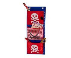 E visualizzare la 671947, Tenda da campeggio, gazebo Raccoglitore a sospensione in tessuto, con ripiano, colore: rosso e blu dei pirati per la stanza dei bambini