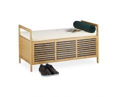 Relaxdays Poggiapiedi, sgabello, mobiletto in bambù con cuscino, per bagno ingresso HxLxP: 46x93x50 cm, marrone chiaro