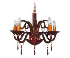 Naeve Leuchten 821914 - Lampada decorativa Krone a 5 paralumi, diametro: 53 cm, altezza: 45 cm, colore marrone