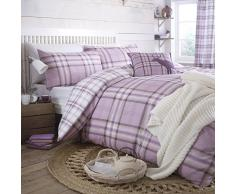 Catherine Lansfield Kelso Completo Letto Matrimoniale, Cotone, Lilac, alla Francese