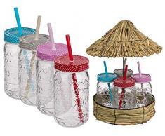 OOTB Bicchiere, Tiki Style, Vaso per Conserve con Coperchio in Metallo Chiusura a Vite & Cannuccia in plastica, ca. 470 ml, A: 20 cm, 4 Colori Ass, Set da 4 su Display di capannine di Paglia