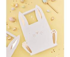 Ginger Ray Coniglietto Pasquale Laminate Treat Egg Hunt Borse con Orecchie e Feet-5Â Pack-Carrot Crunch, Multi
