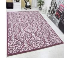VIMODA Tappeto Design Rosa Hoch-Tiefstrukturen Disegno a Quadri Effetto Glitter - Rosa, 80x150 cm