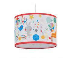 relaxdays Lampada da Cameretta, per Bambini & Bambine, Animali, Zoo, E27, Paralume da Soffitto, HxD: 126x30 cm, Colorato