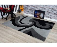 Serdim Rugs Ltd - Tappeto Moderno, Morbido, Intagliato a Mano, Spessore 1,2 cm, Idrorepellente e Non stinge, Lavabile (Grigio Nero, 60 x 110 cm)