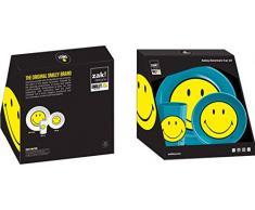 Zak! designs 6662 - Set di 3 stoviglie per bambini, motivo: Smiley, Melammina, blu, 22 x 9,5 x 22,5 cm