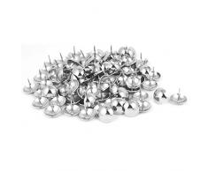 Sourcingmap® casa mobili Divano 25MMX25MM Ferro puntine con Cupola Nail Argento Tono 100pcs