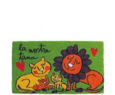 laroom - Zerbino con Motivo La Nostra Tana 40x70x1.8 cm Verde