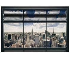 Artopweb Pannelli Decorativi New York Window Blinds Quadro, Legno, Multicolore, 90x1.8x60 cm
