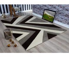 Serdim Rugs Ltd - Tappeto Moderno, Morbido, Intagliato a Mano, Design Geometrico Triangolare, Spessore 1,2 cm, Idrorepellente e Non stinge, Lavabile (Beige Marrone, 60 x 230 cm)