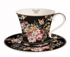 Easy Life una tazza con piattino, Porcellana, Multicolore, 17.5Â x 17.5Â x 11Â cm