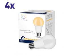 Müller-Licht Tint Set di LED E27, 4 x Lampade a Goccia 9 W, Bianco, dimmabile con Accessori ulteriori (2700K), Funziona con Alexa, Pezzi