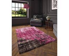 Flora Carpets Modern fashion/Leo Tappeto di creatore al design, Poliestere, Nero/Rosa, 150 x 80 x 1.2 cm