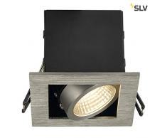 SLV faretto da incasso Kadux singolo, 6,2 W, LED COB, 3000 K, 38 laurea, con autista, molle di clip, in alluminio spazzolato 115706