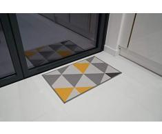 Serdim Rugs Gelback Tappeto Antiscivolo dal Design Geometrico per Cucina e corridoi Multiuso – tappetini, Oro, 80x150cm (26 x50)
